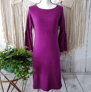 NWT Donna Morgan Purple Bell Sleeve Sweater Dress